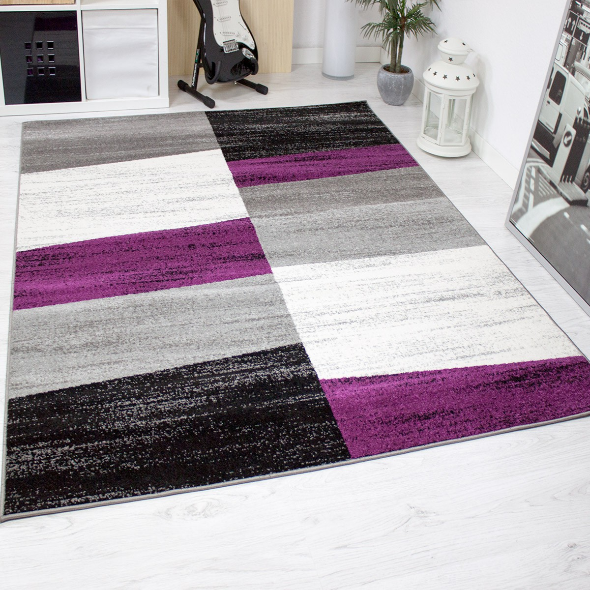 design salon tapis g om trique motif mouchet mauve gris blanc noir ebay. Black Bedroom Furniture Sets. Home Design Ideas