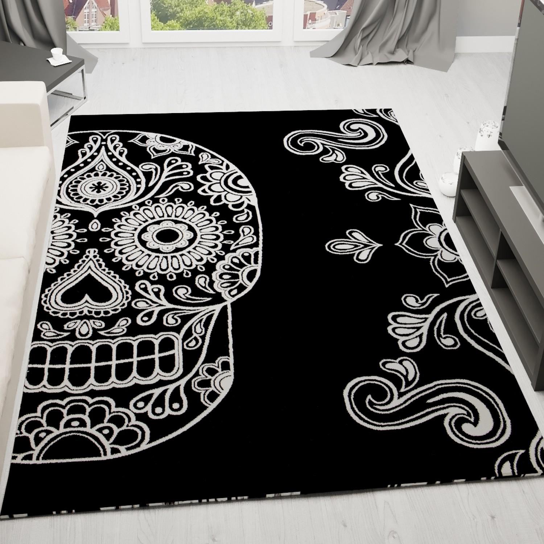 Alfombra Art Stica Negra Y Blanca Con Motivo De Calavera