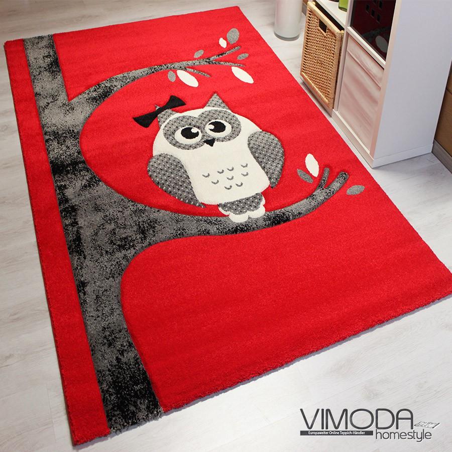 moderner kinder teppich mit eule rot grau neu gepr ft auf schadstoffe kids. Black Bedroom Furniture Sets. Home Design Ideas