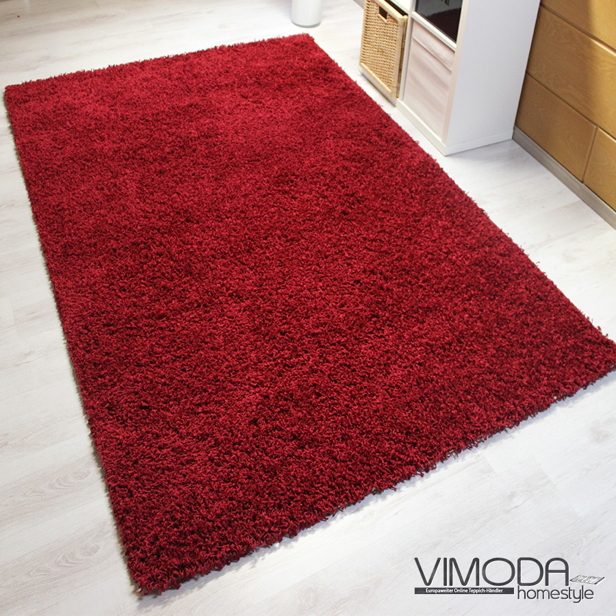 moderner hochflor shaggy teppich uni farbe in rot naturfreundlich neu vimoda ebay. Black Bedroom Furniture Sets. Home Design Ideas