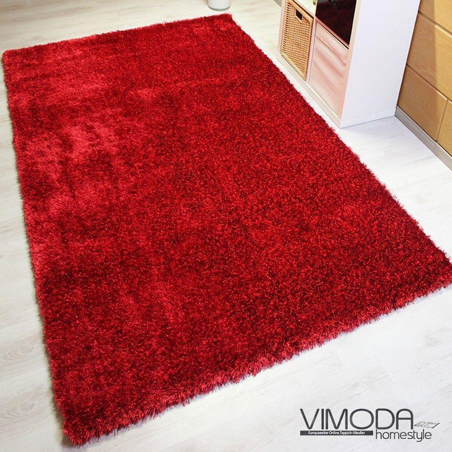 hoch moderner hochflor maxi shaggy teppich polyester mit glitzer in rot 160x230 ebay. Black Bedroom Furniture Sets. Home Design Ideas
