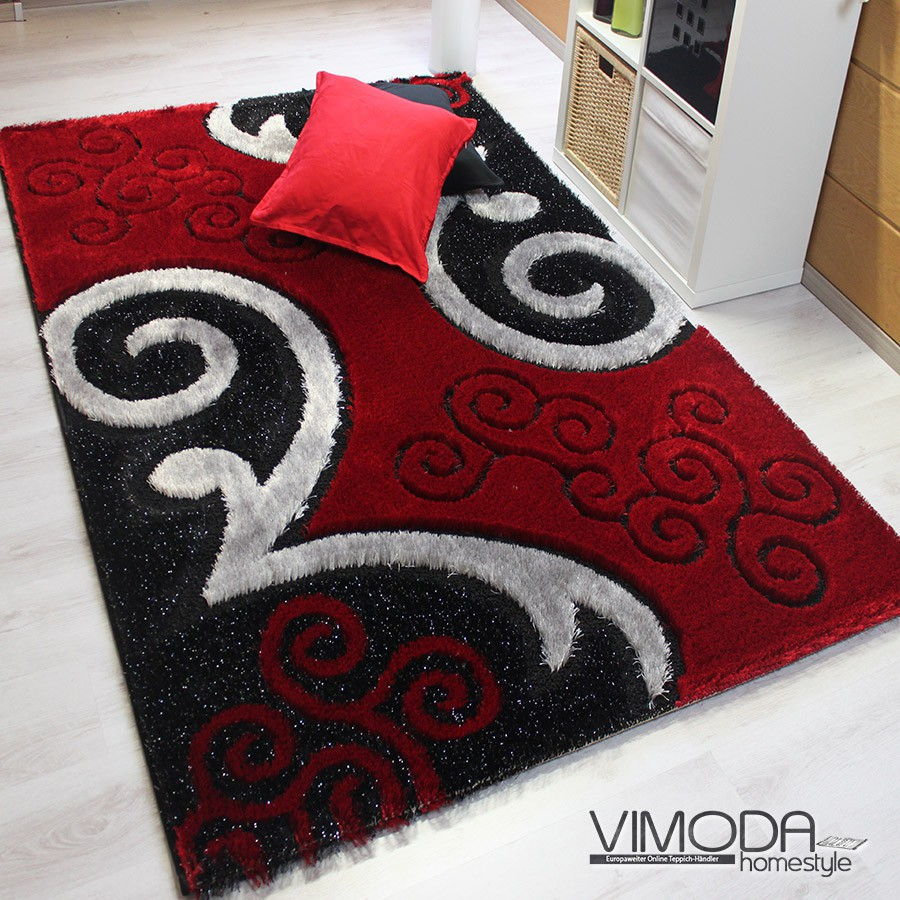 teppich mit glitzer effekt in schwarz rot z5330 luxus teppich schwarz ...