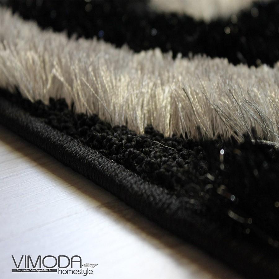moderner luxus shaggy teppich mit glitzer effekt schwarz rot weiss neu ebay. Black Bedroom Furniture Sets. Home Design Ideas