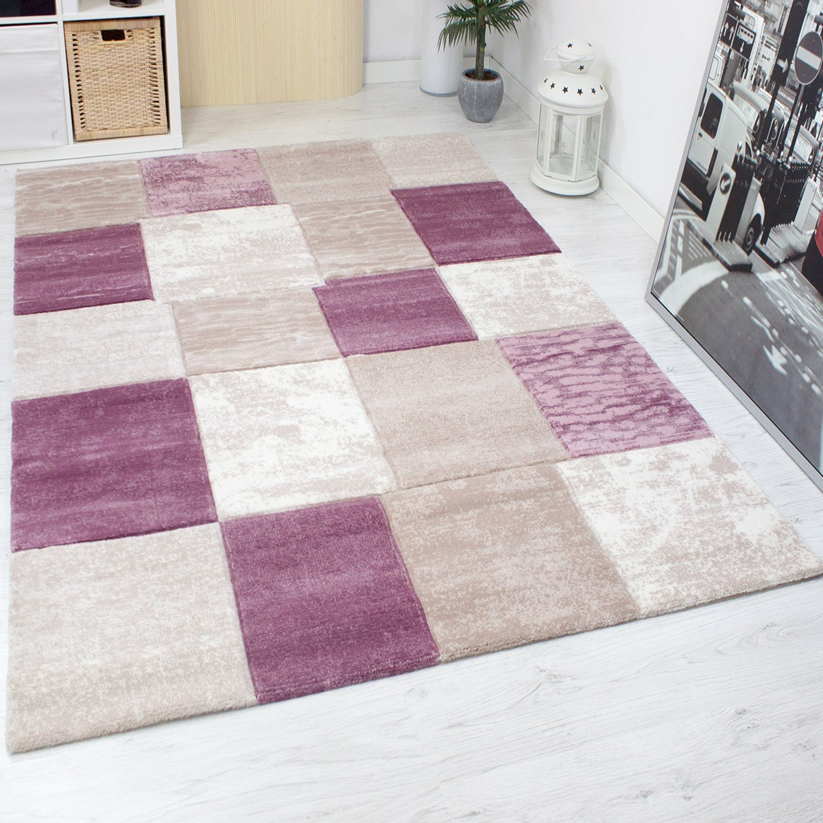 teppich modern designer kariert meliert in rosa pink sehr. Black Bedroom Furniture Sets. Home Design Ideas
