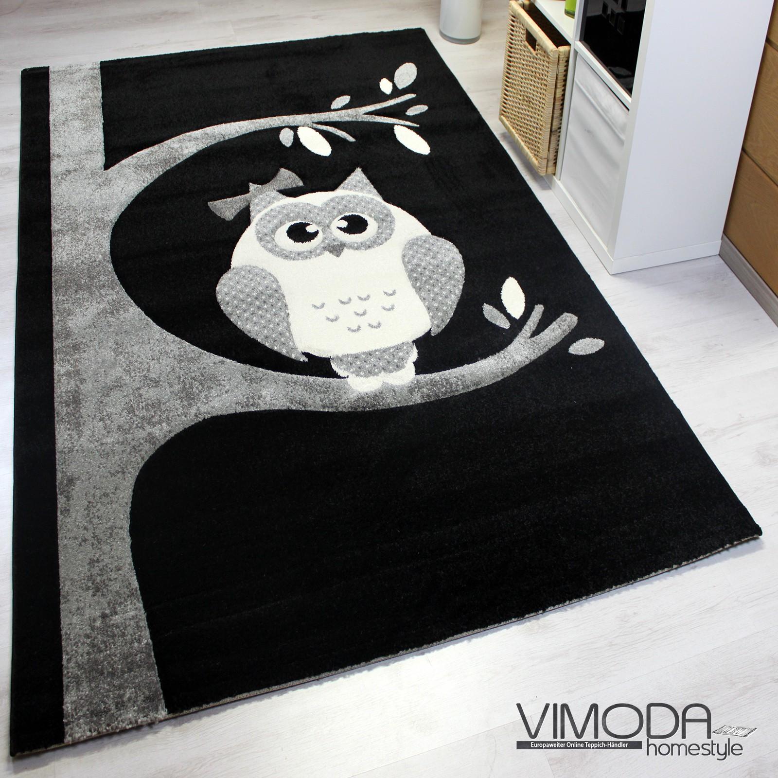 moderner kinder teppich mit eule schwarz weiss kinderzimmer naturfreundlich ebay. Black Bedroom Furniture Sets. Home Design Ideas