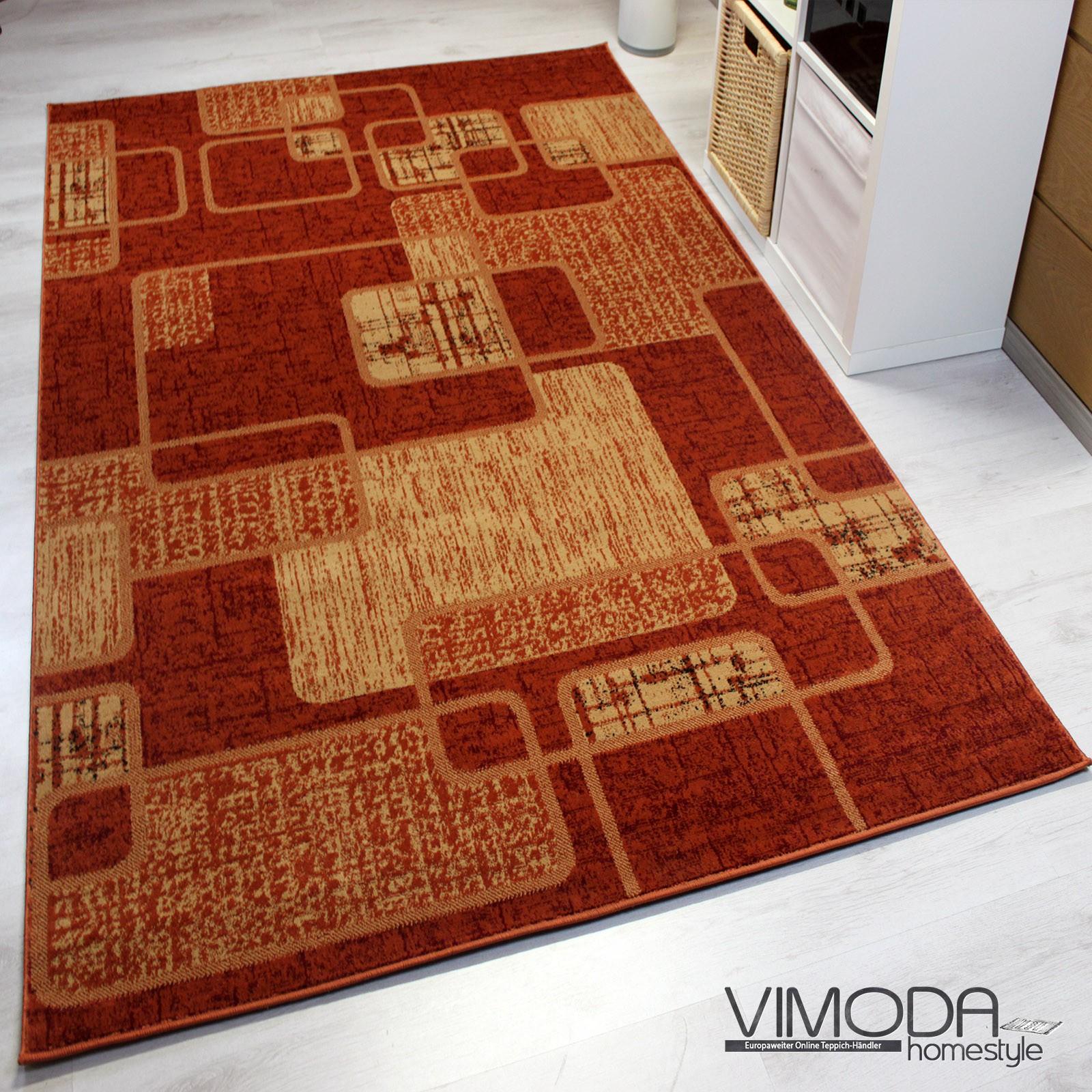 moderner designer heatset teppich retro muster kariert und meliert in orange rot s6704. Black Bedroom Furniture Sets. Home Design Ideas