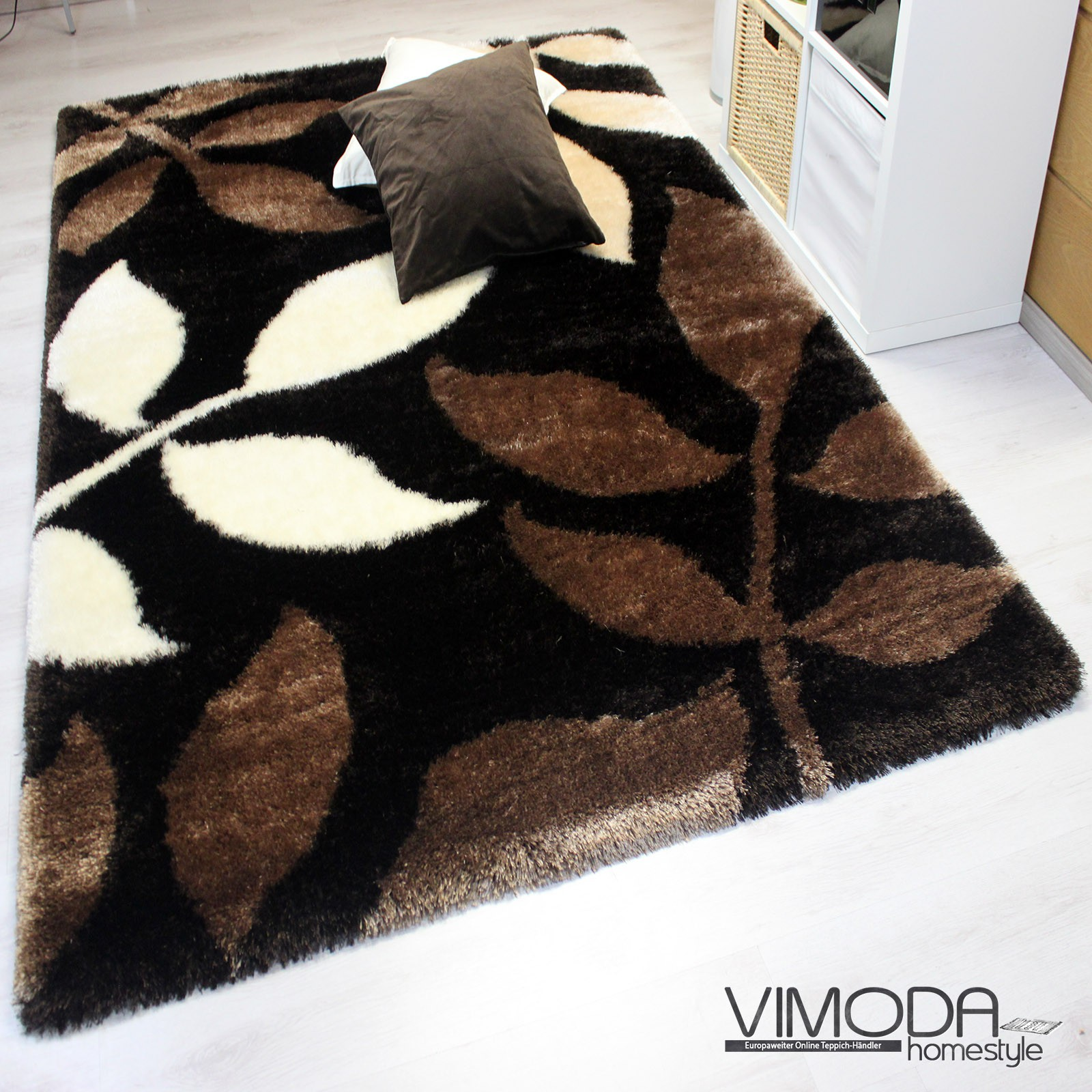 super soft shaggy hochflor teppich modern blumen muster. Black Bedroom Furniture Sets. Home Design Ideas