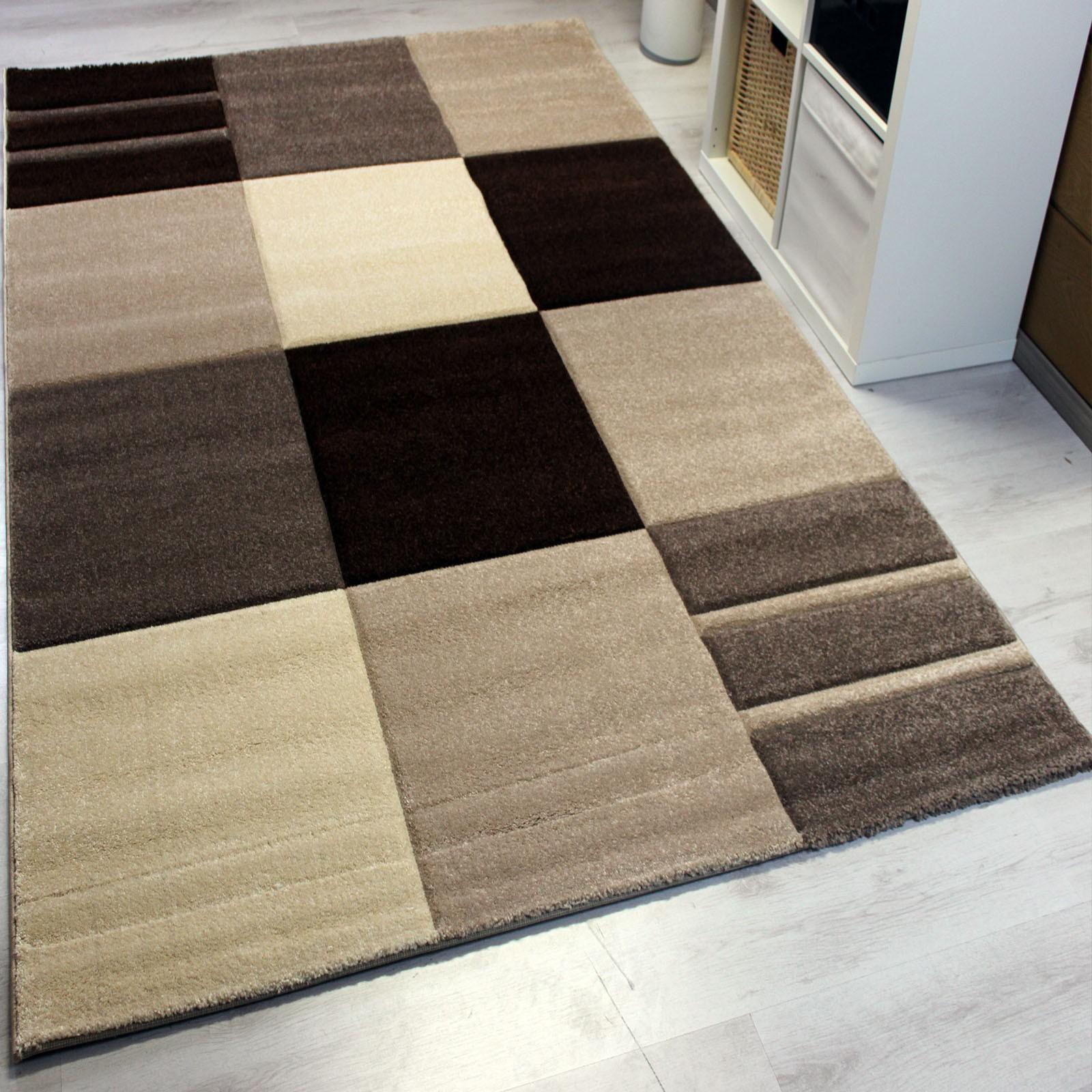 moderner designer frisee teppich kariert mit konturen. Black Bedroom Furniture Sets. Home Design Ideas