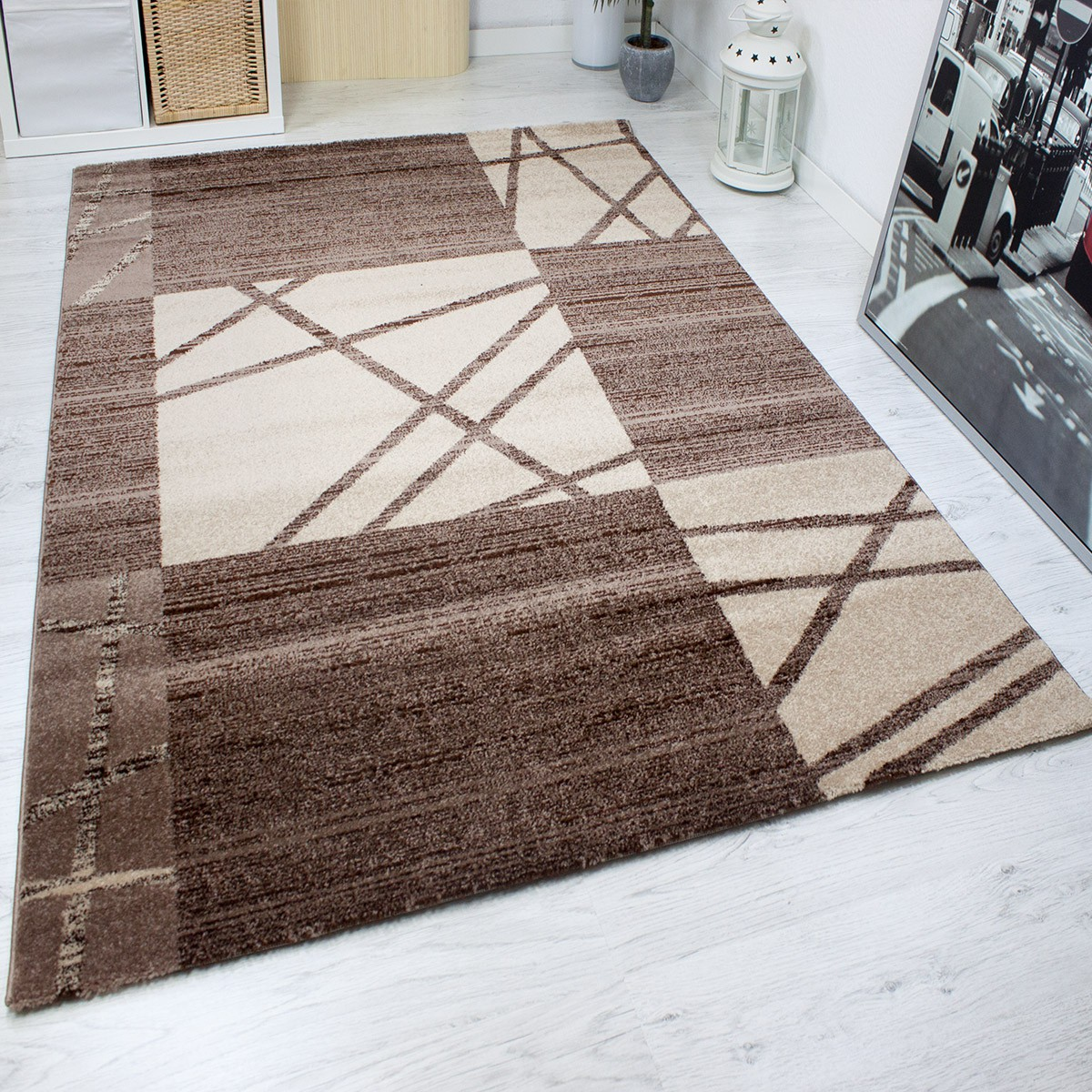 tapis moderne design marron beige carreaux rayures poils ras ebay. Black Bedroom Furniture Sets. Home Design Ideas