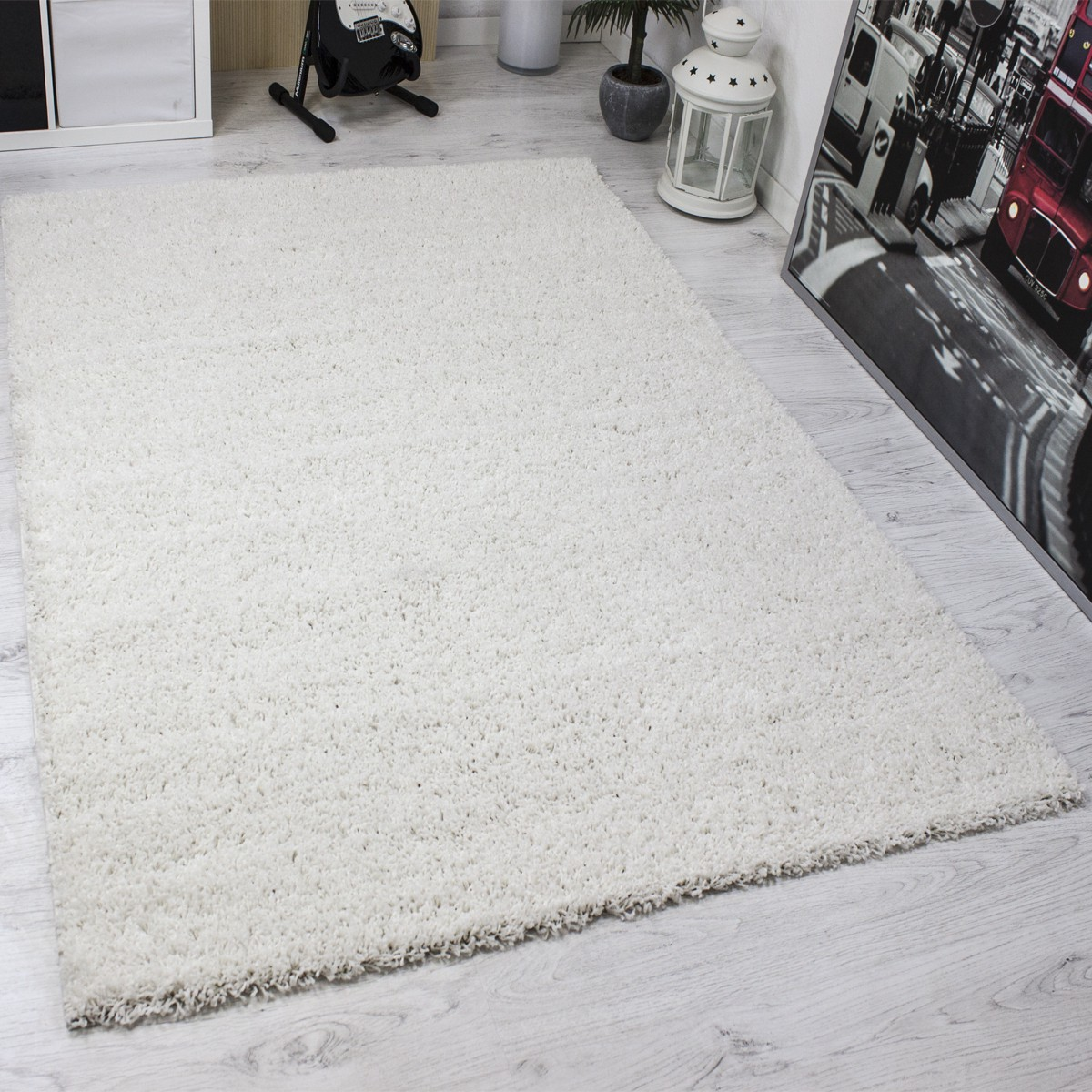 shaggy poils longs tapis moderne entretien facile hauteur du monochrome blanc ebay. Black Bedroom Furniture Sets. Home Design Ideas