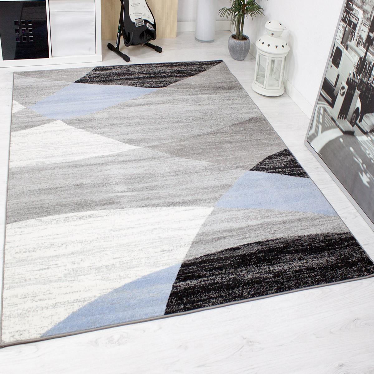 designer wohnzimmer teppich geometrisches muster meliert. Black Bedroom Furniture Sets. Home Design Ideas