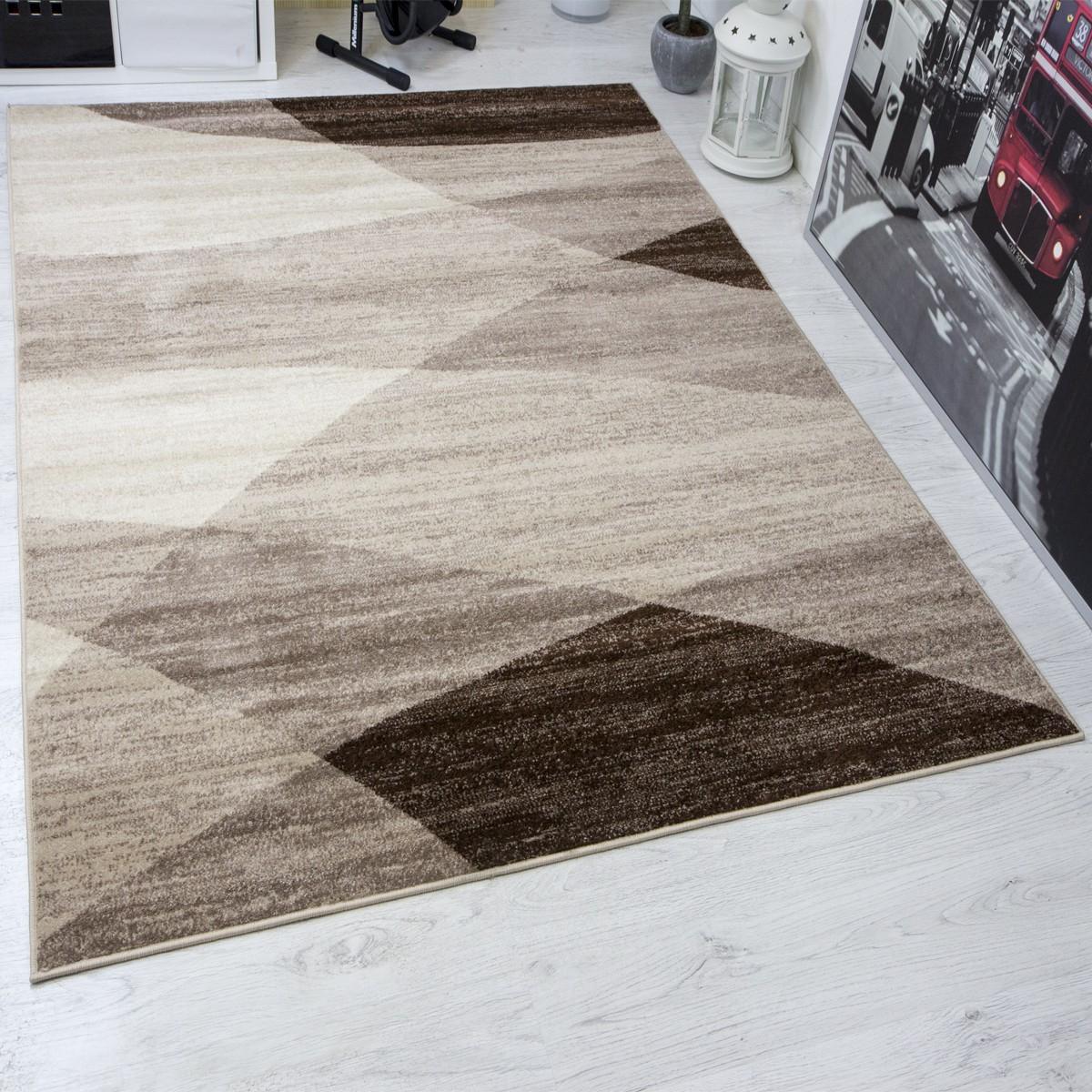 designer wohnzimmer teppich geometrisches muster meliert in braun beige neu ebay. Black Bedroom Furniture Sets. Home Design Ideas