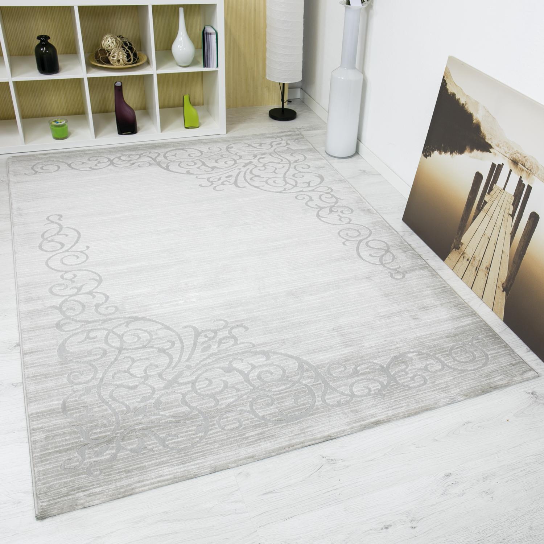 bord re teppich in grau silber kunstvolle optik mit hoch tief struktur meliert ebay. Black Bedroom Furniture Sets. Home Design Ideas