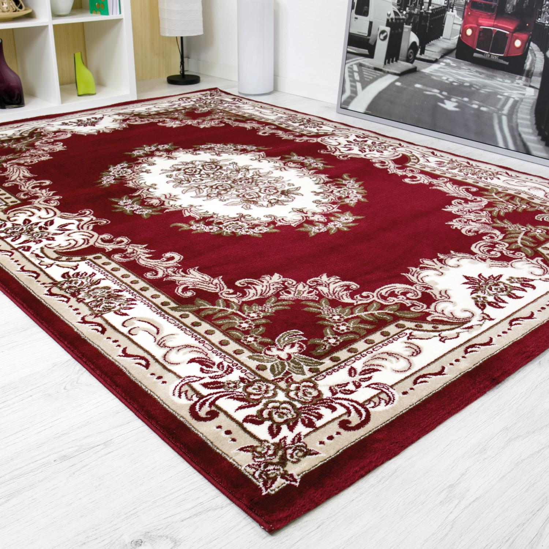 Red Traditional Rugs Living Room Large Rug Carpet Classic Design Short Pile Ebay