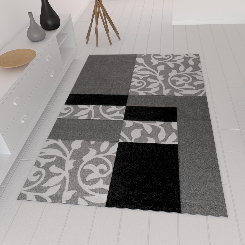 moderner designer teppich mit blumenmuster kariert konturen in grau schwarz ebay. Black Bedroom Furniture Sets. Home Design Ideas