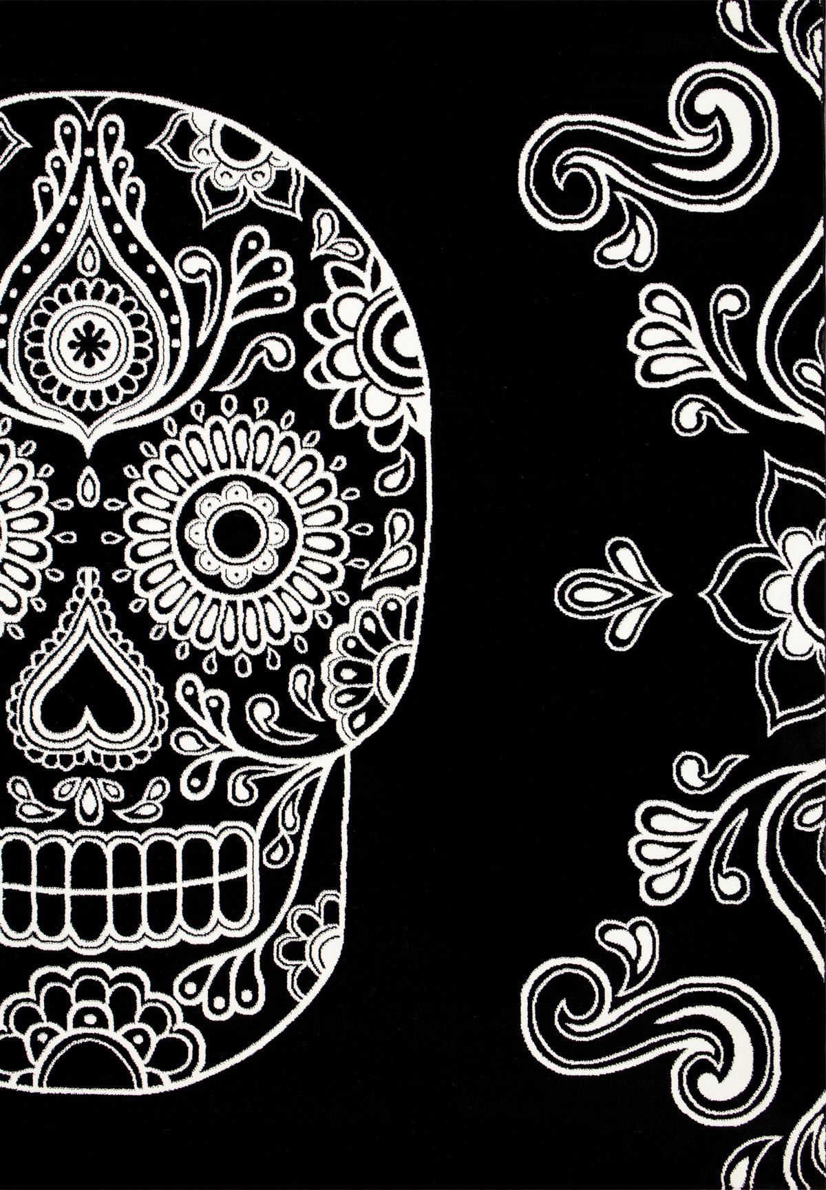 Moderner Teppich Schwarz Weiß Kunstvoll Design Totenkopf
