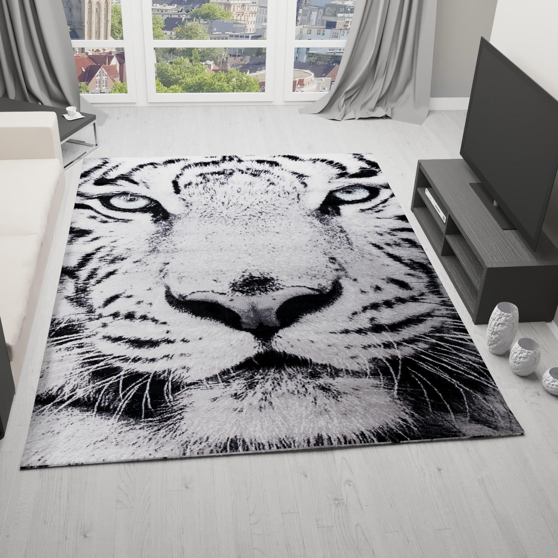 Tappeto di design neve tigre gatto bianco wild verde occhi - Porta pranzo tiger ...