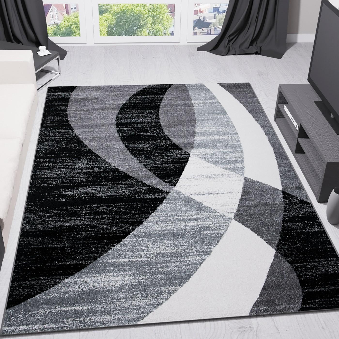 teppich modern design schwarz grau wei kurzflor geschwungene streifen top preis ebay. Black Bedroom Furniture Sets. Home Design Ideas