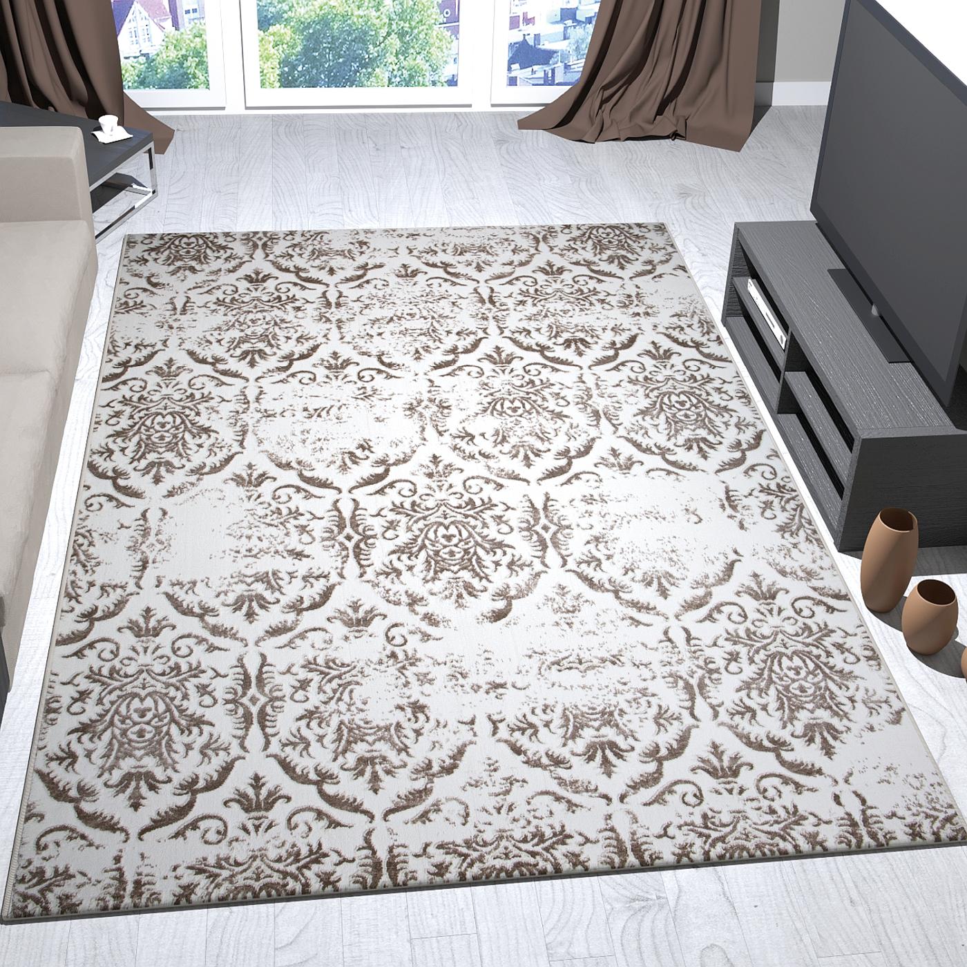 teppich design creme beige mit relief ornamenten getuftet. Black Bedroom Furniture Sets. Home Design Ideas