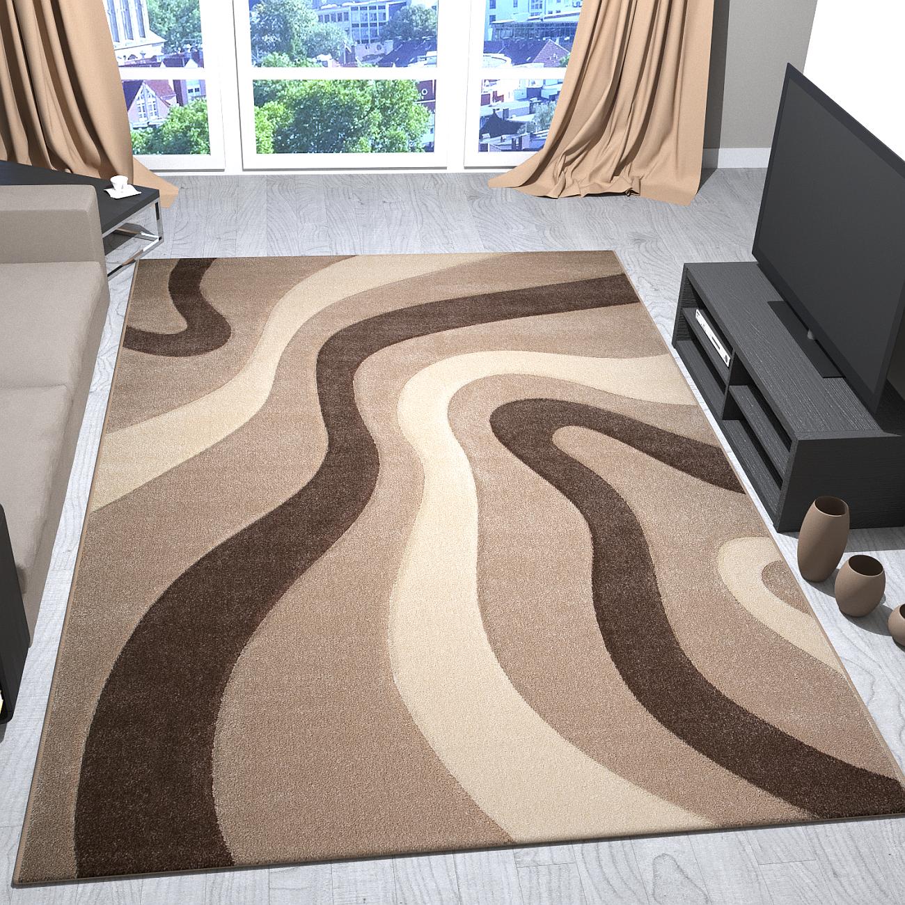 Teppich Modern Design Braun Beige Creme Mit Wellen Muster