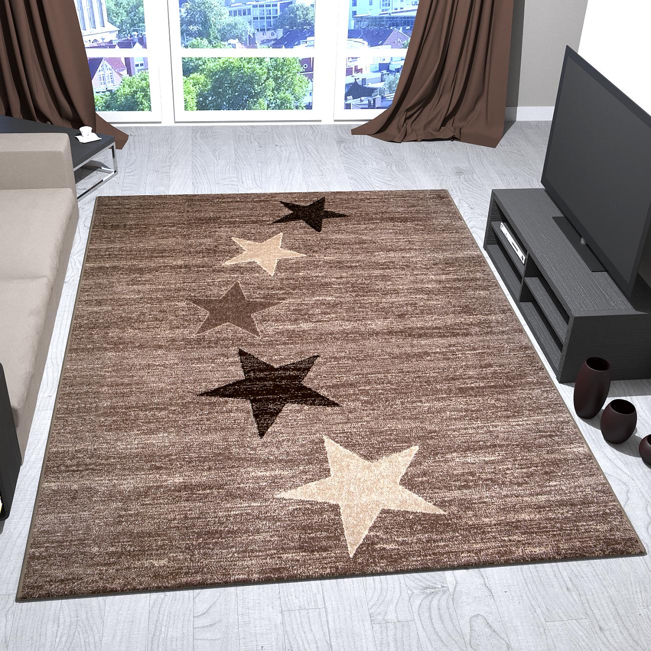 Teppich modern design braun beige kurzflor sternenmuster