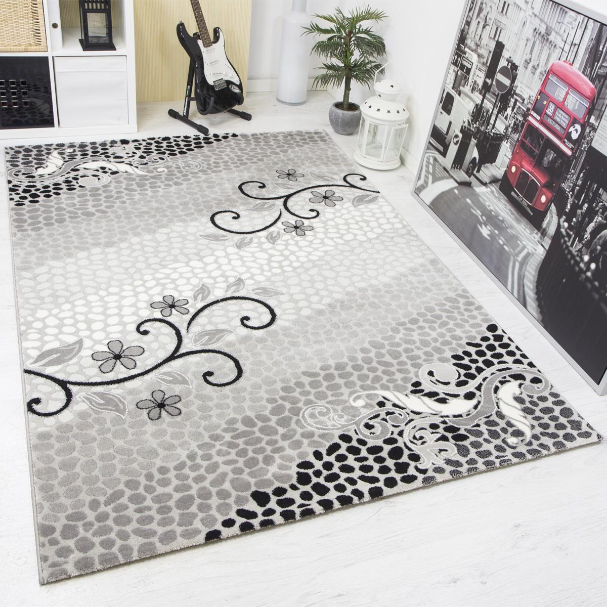 moderner teppich elegant optik mit glitzereffekt edel in. Black Bedroom Furniture Sets. Home Design Ideas