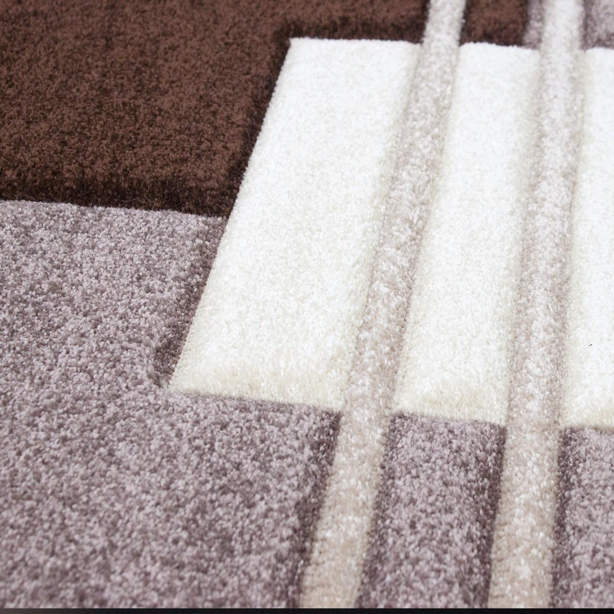 moderner wohnzimmer teppich kariert design konturenschnitt. Black Bedroom Furniture Sets. Home Design Ideas