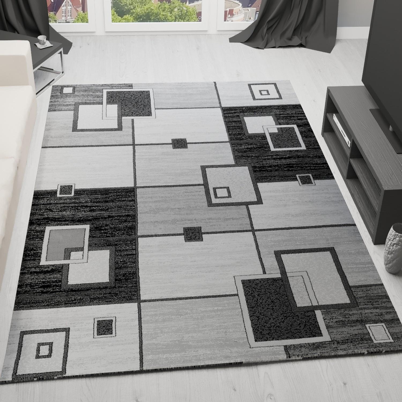 Tappeto Soggiorno Design Moderno Quadrettato modello retrò in grigio ...