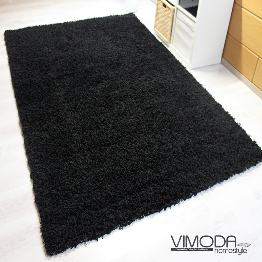 moderner hochflor shaggy teppich uni farbe in schwarz s1000. Black Bedroom Furniture Sets. Home Design Ideas