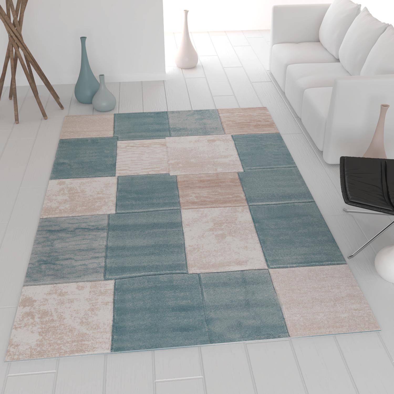 moderner heatset teppich kariert und meliert in turkis. Black Bedroom Furniture Sets. Home Design Ideas
