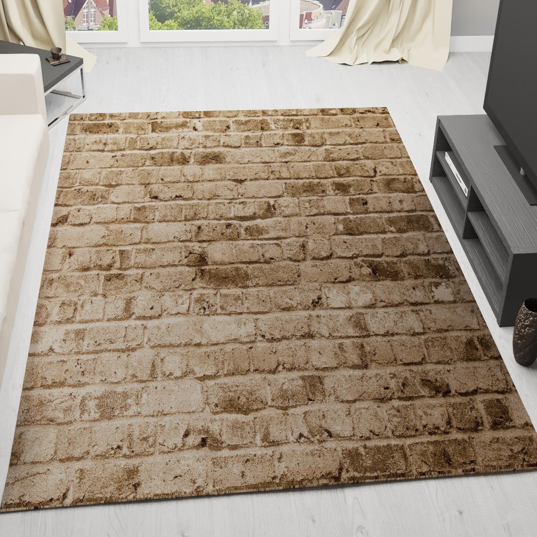 moderner design teppich stein optik mauer design in braun t5162. Black Bedroom Furniture Sets. Home Design Ideas