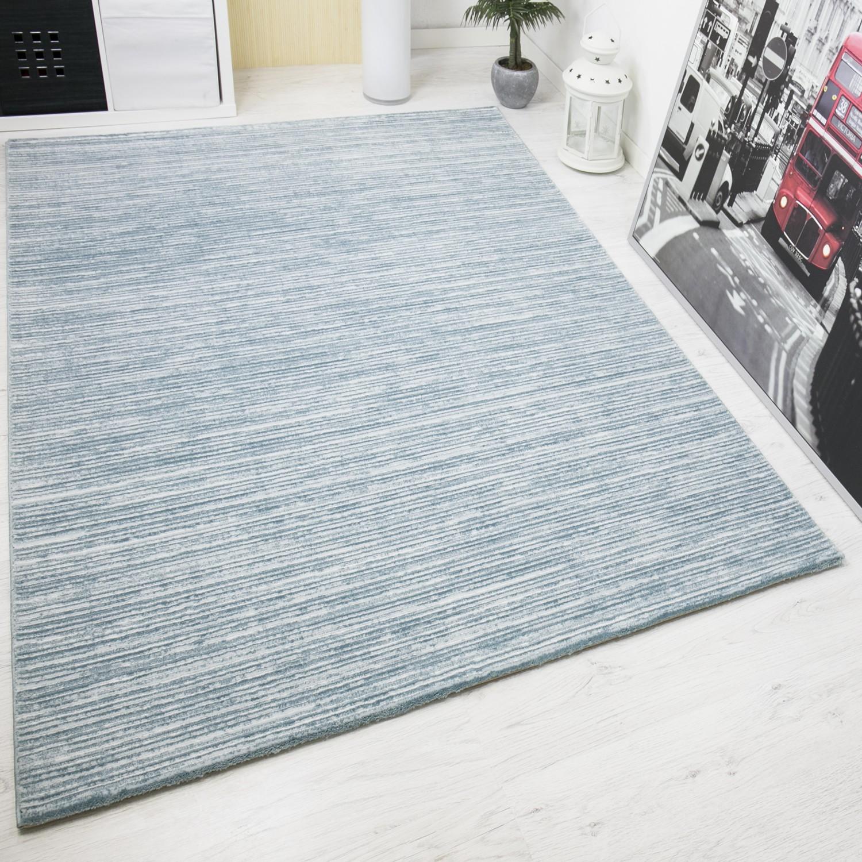 moderner teppich sehr edel mit hoch tief effekt und glitzer gestreift in turkis weiss s7710. Black Bedroom Furniture Sets. Home Design Ideas