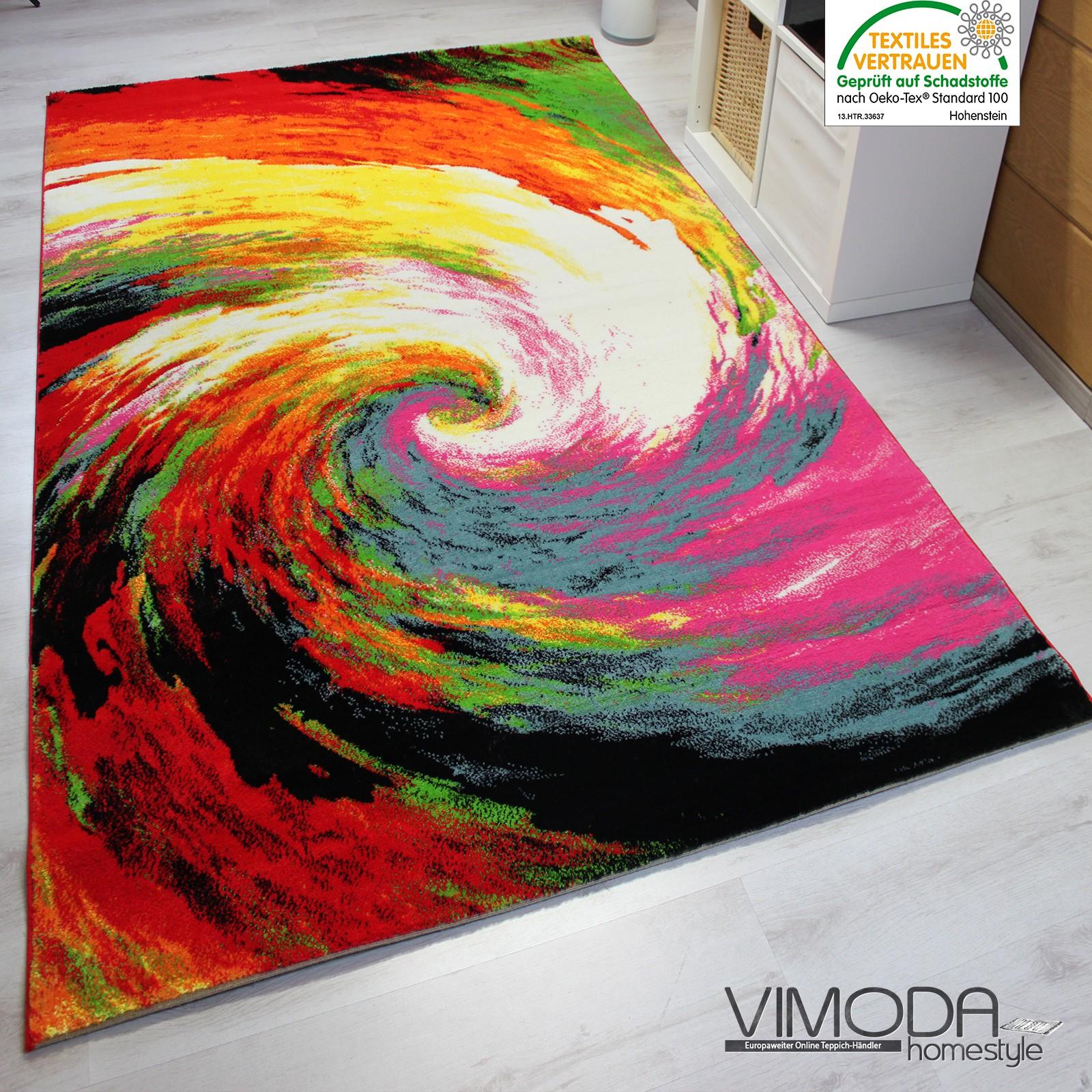 teppich modern design kurzflor multicolor kreis wirbel in rot gr n gelb f7776. Black Bedroom Furniture Sets. Home Design Ideas