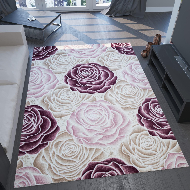 moderner teppich sehr edel mit hoch tief effekt und glitzer blumen muster rosa creme s7622. Black Bedroom Furniture Sets. Home Design Ideas